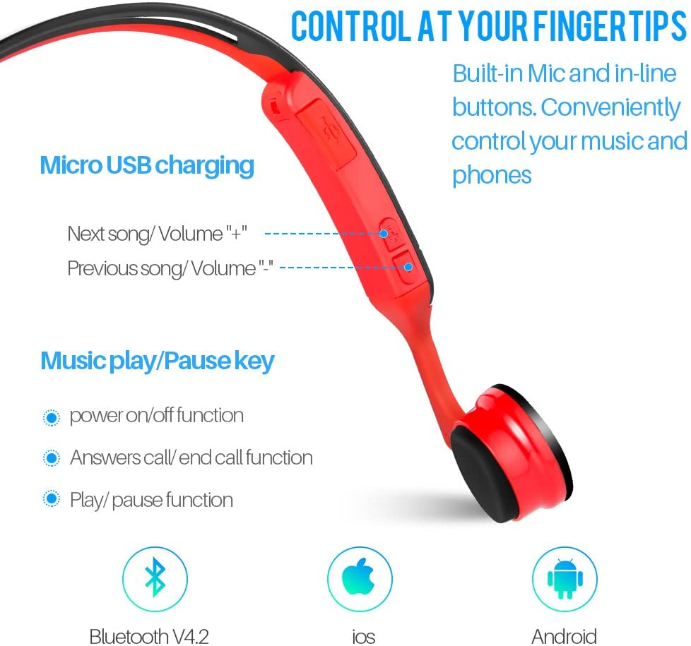 Juhall V4.2 Bluetooth Bone Conduction Headphones Design